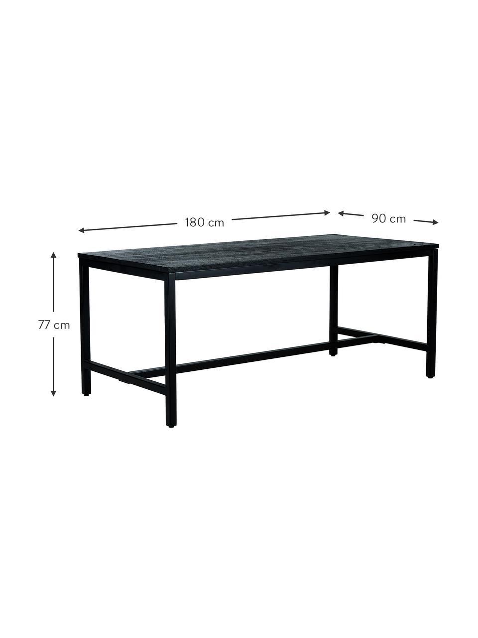 Esstisch Raw mit Massivholzplatte in Schwarz, Tischplatte: Massives Mangoholz, gebür, Gestell: Metall, pulverbeschichtet, Mangoholz, schwarz lackiert, B 180 x T 90 cm