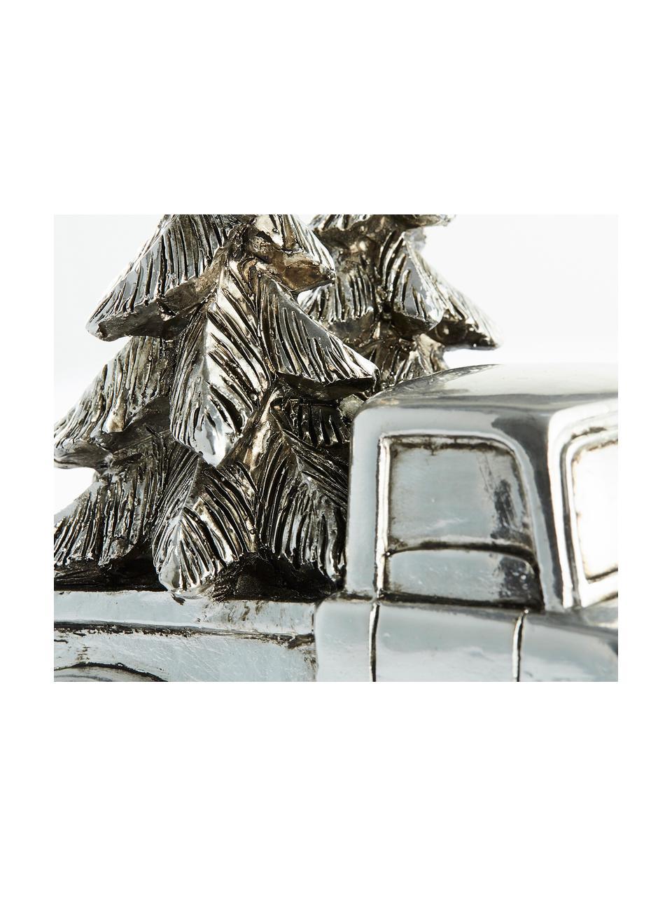 Dekoracja Car, Poliresing, Odcienie srebrnego, S 14 x W 14 cm