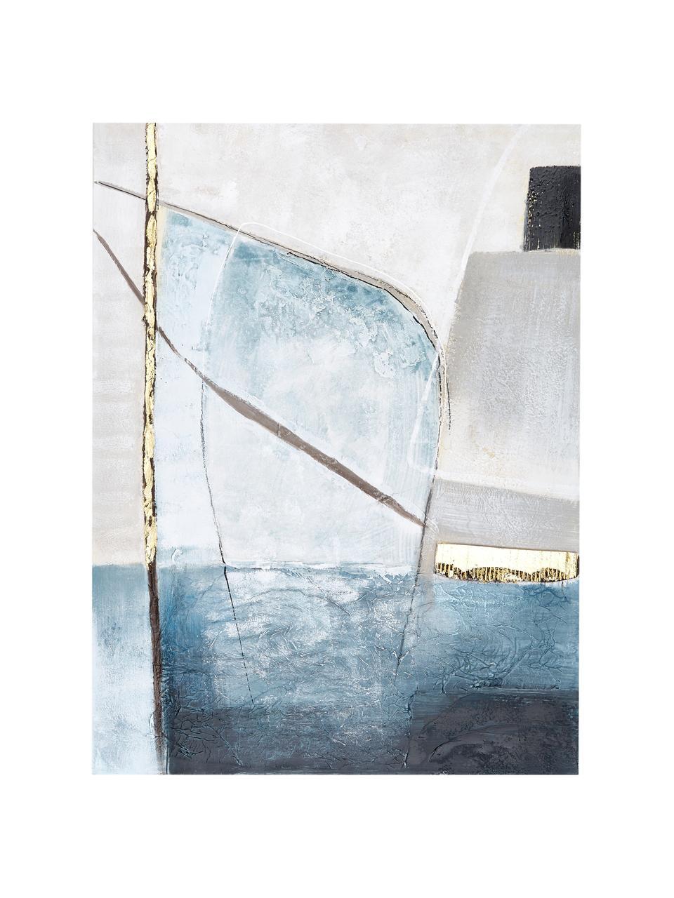 Quadro dipinto a mano Golden Blue II, Immagine: colori ad olio su tela (3, Barella: legno di abete, Multicolore, Larg. 90 x Alt. 120 cm