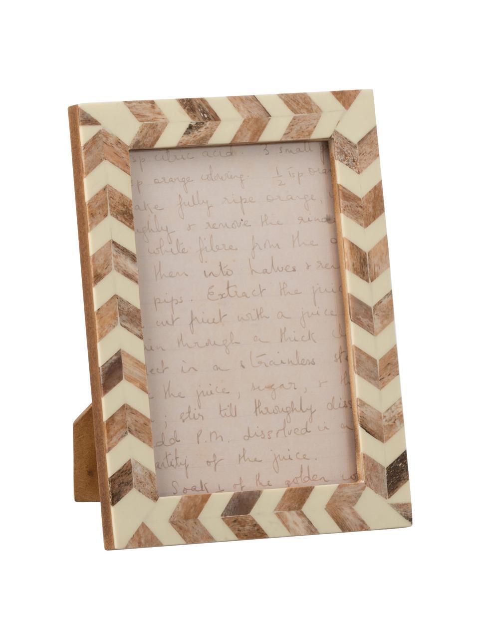 Bilderrahmen Lima, Holz, Horn, Beige, Hellbraun, 10 x 15 cm