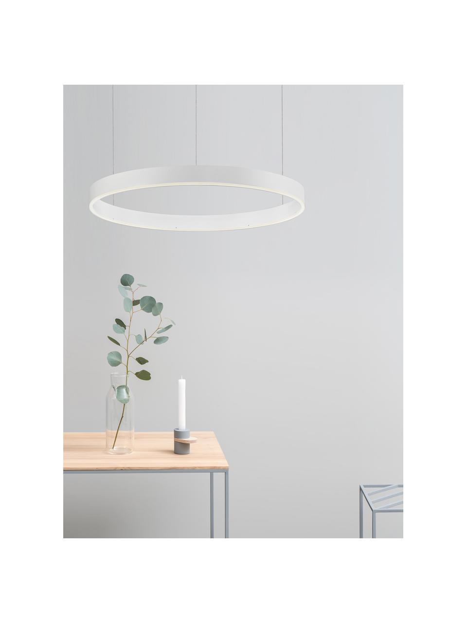 Große LED-Pendelleuchte Motif in Weiß, Lampenschirm: Aluminium, beschichtet, Baldachin: Aluminium, beschichtet, Weiß, Ø 60 x H 190 cm