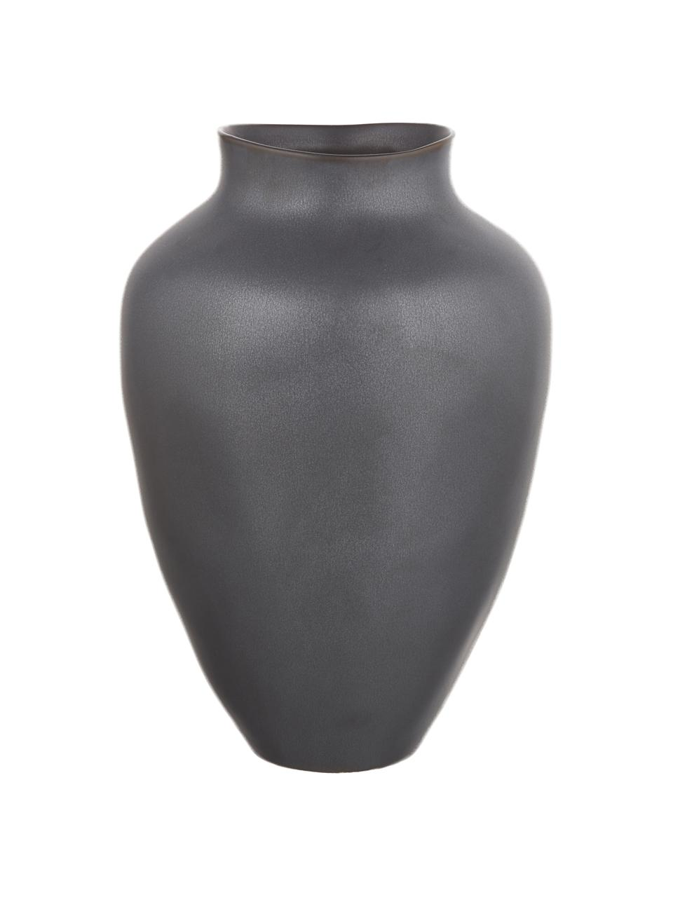 Jarrón artesanal grande de cerámica Latona, Cerámica, Negro mate, Ø 27 x Al 41 cm