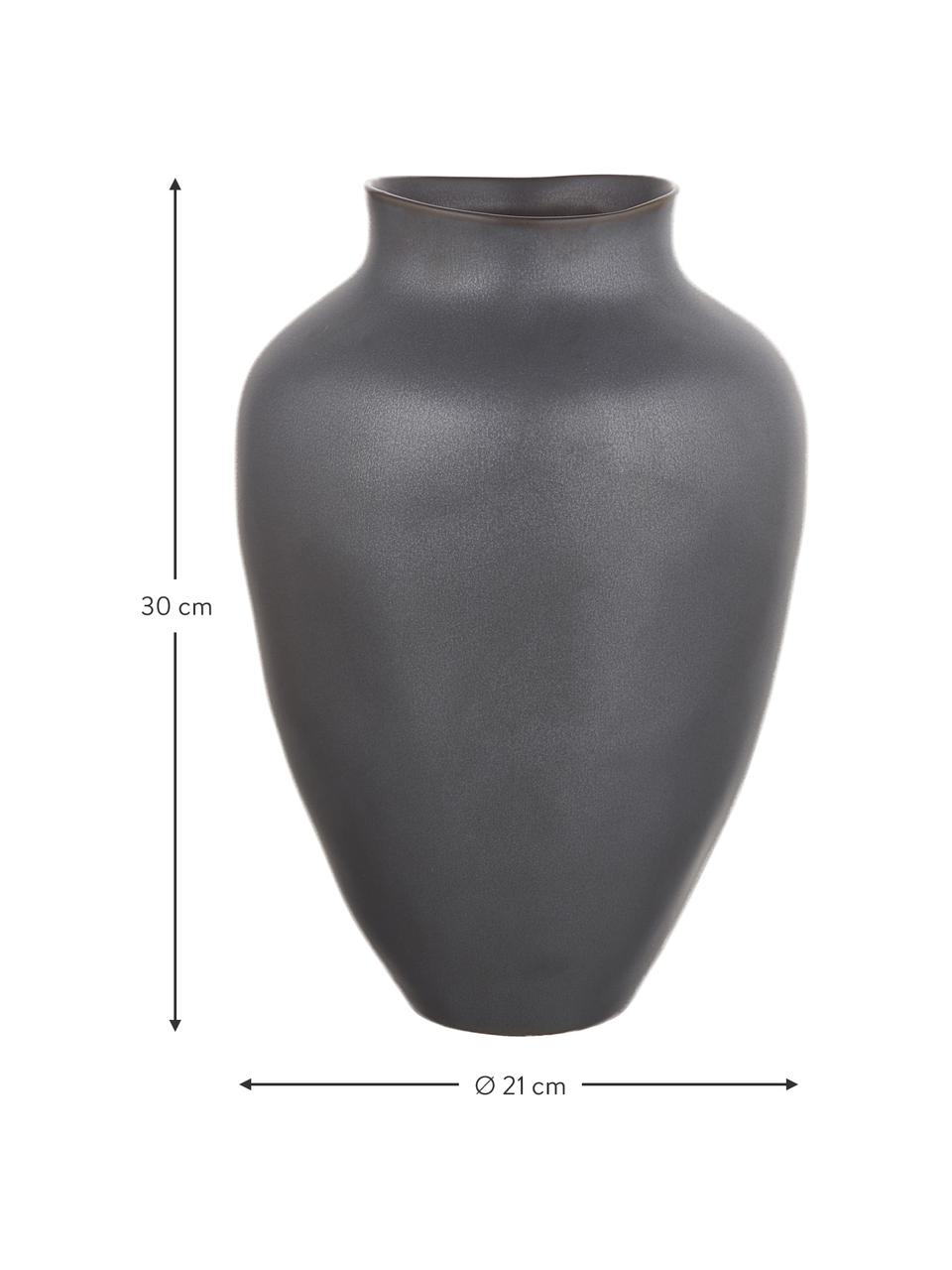 Grote handgemaakte vaas Latona van keramiek, Keramiek, Mat zwart, Ø 27 x H 41 cm