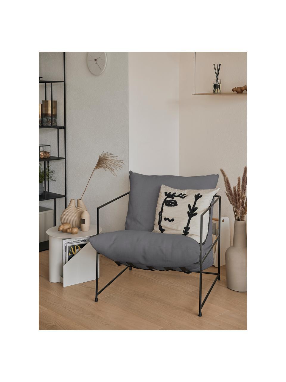 Gestoffeerde fauteuil Wayne met metalen frame, Bekleding: 80% polyester, 20% linnen, Frame: gepoedercoat metaal, Geweven stof grijs, B 69  x D 74 cm
