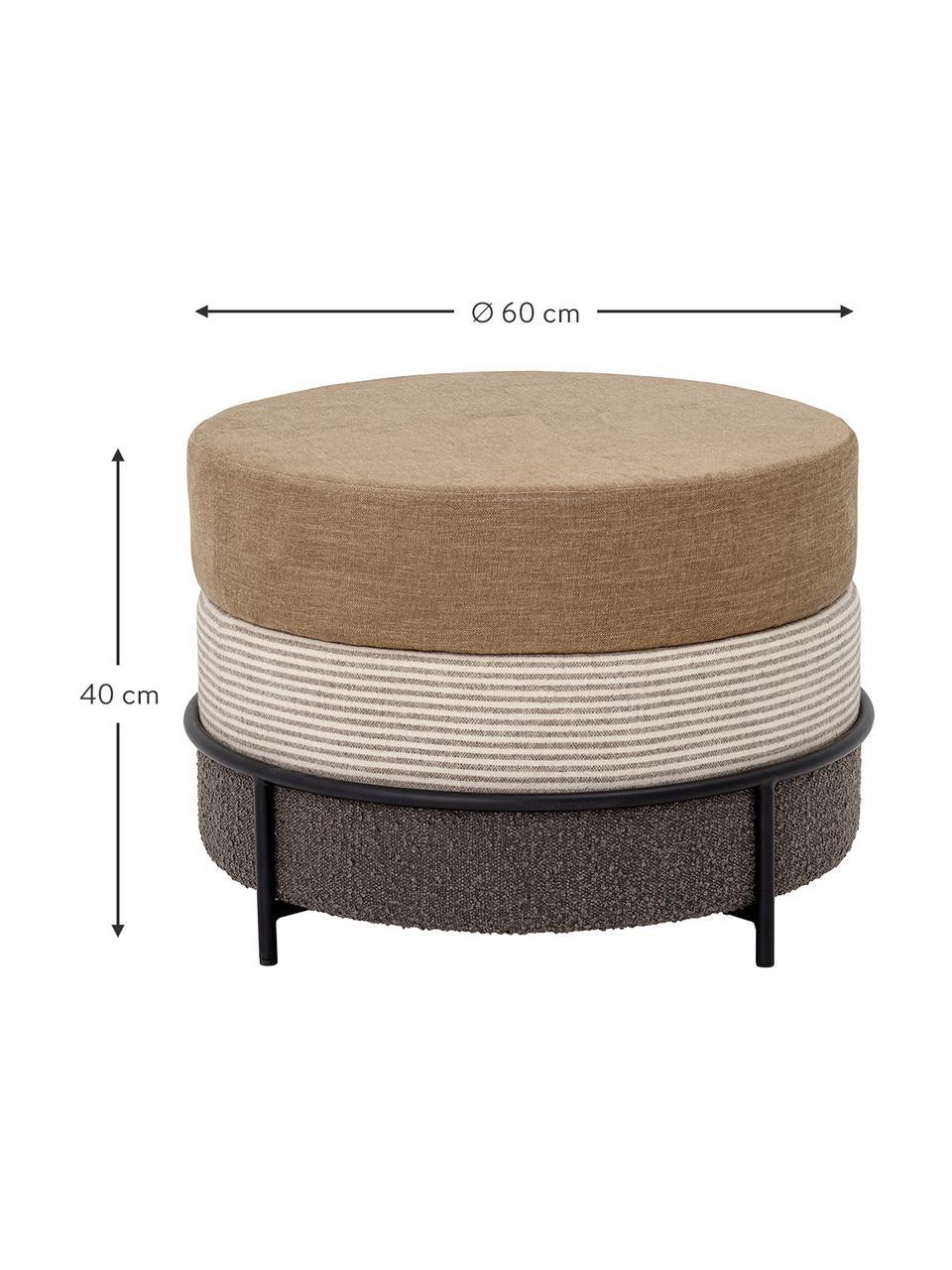 Pouf marrone Como, Rivestimento: poliestere Il rivestiment, Gambe: metallo rivestito, Marrone, Ø 60 x Alt. 40 cm