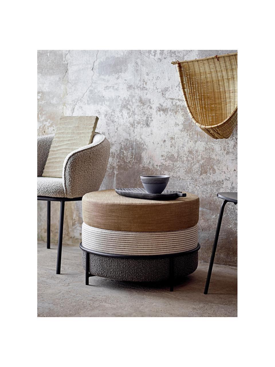 Poef Como  in bruin, Bekleding: polyester De bekleding is, Poten: gecoat metaal, Bruin, Ø 60 x H 40 cm