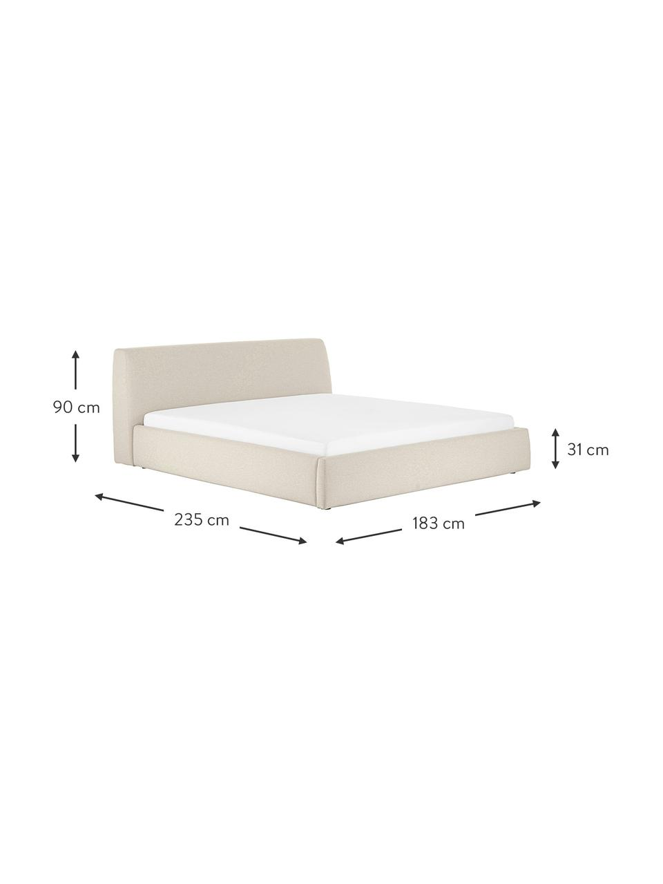 Łóżko tapicerowane z zagłówkiem Cloud, Korpus: lite drewno sosnowe, mate, Tapicerka: tkanina o drobnej struktu, Ciemny beżowy, S 180 x D 200 cm