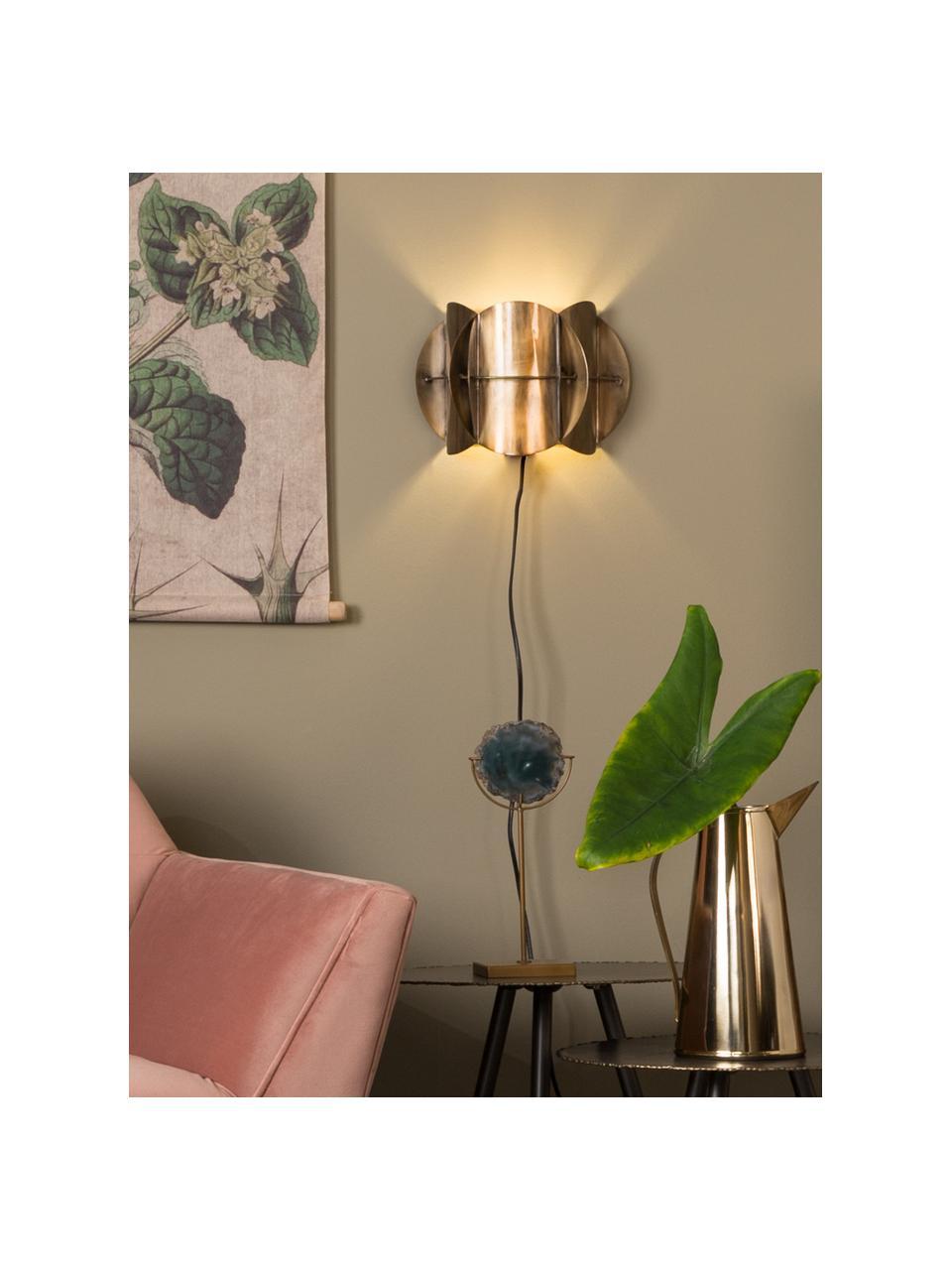 Applique di design con spina Corridor, Paralume: ottone, Ottone con finitura anticata, Larg. 27 x Alt. 19 cm