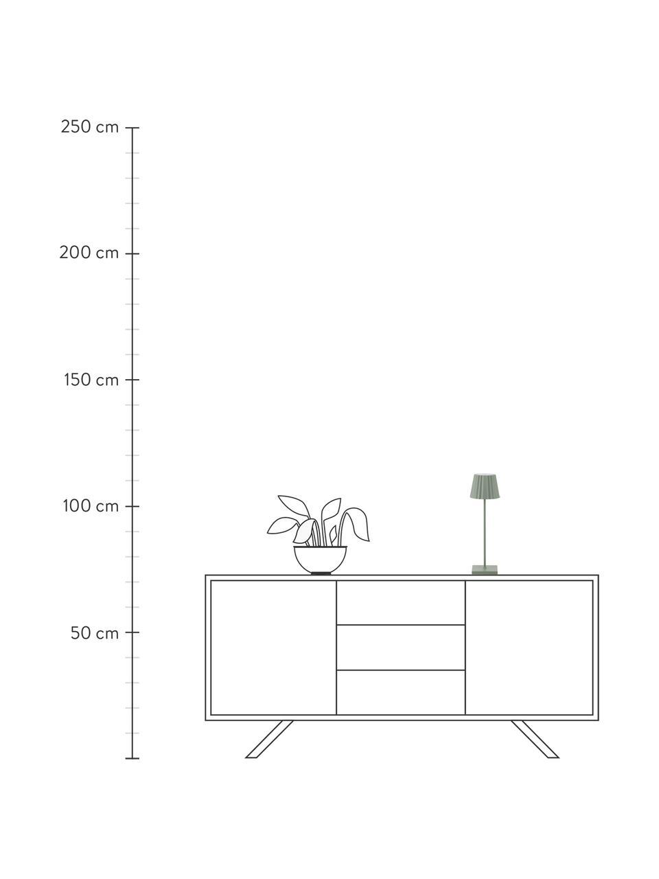 Mobile Dimmbare Außentischlampe Trellia, Lampenschirm: Aluminium, lackiert, Lampenfuß: Aluminium, lackiert, Grün, Ø 12 x H 38 cm