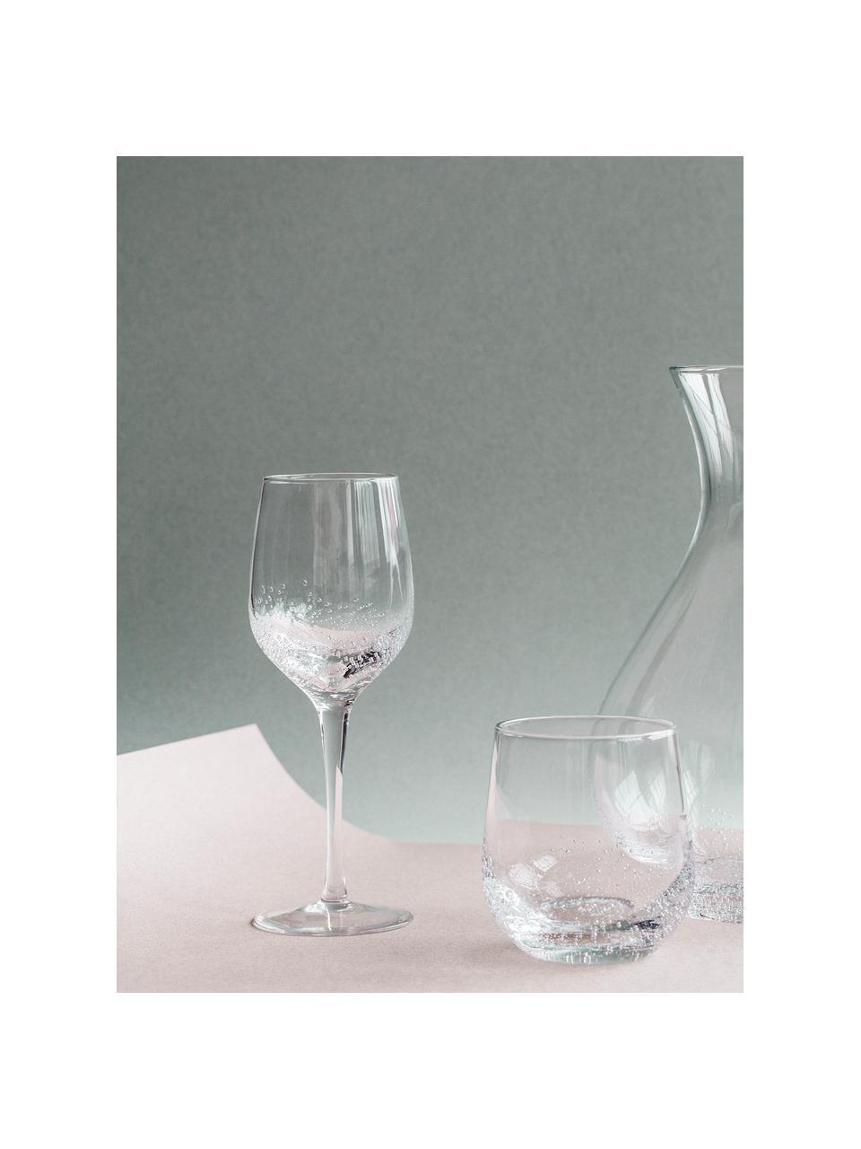 Verre à vin blanc soufflé bouche Bubble, 4pièces, Transparent avec bulles d'air emprisonnées