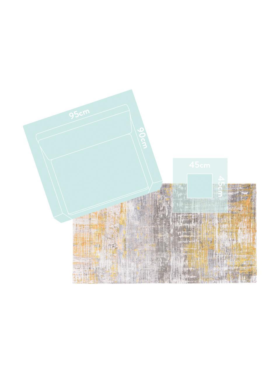 Design vloerkleed Streaks in grijs/geel, Bovenzijde: 85%katoen, 15%hoogglanz, Weeftechniek: jacquard, Onderzijde: katoenmix, gecoat met lat, Geel, grijs, wit, B 140 x L 200 cm (maat S)