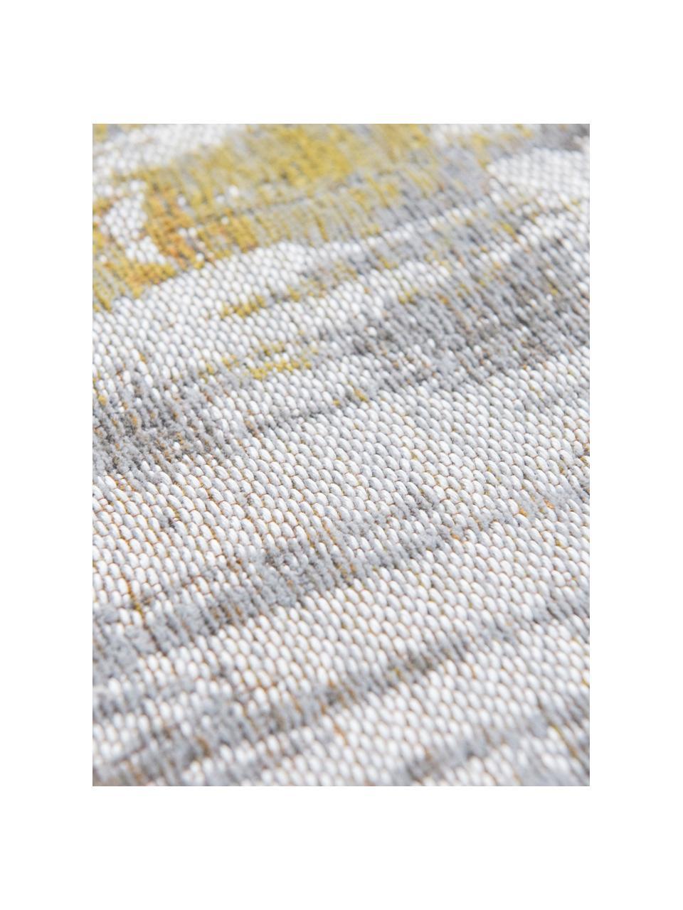Designteppich Streaks in Grau/Gelb, Flor: 85%Baumwolle, 15%hochgl, Webart: Jacquard, Gelb, Grau, Weiß, B 140 x L 200 cm (Größe S)