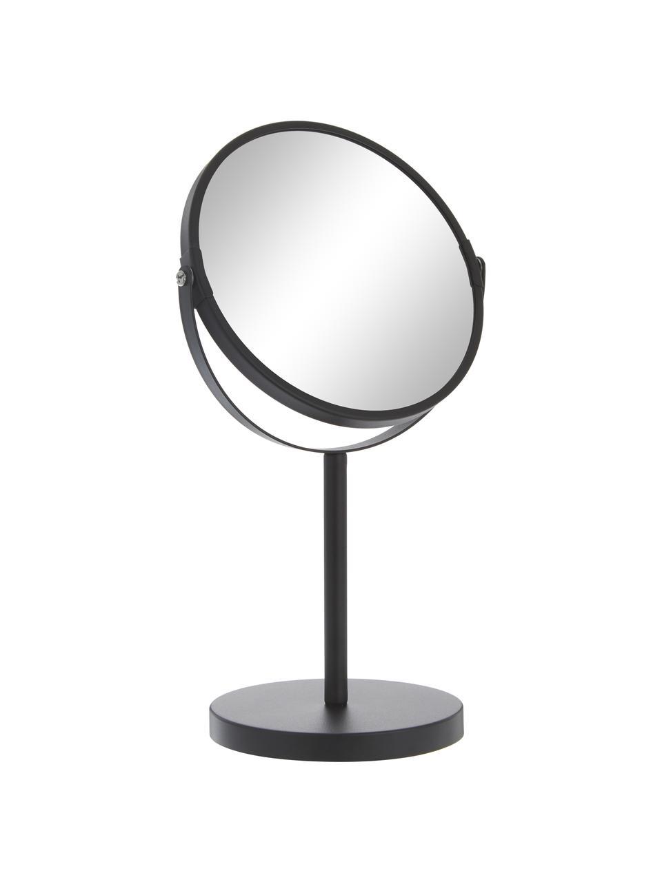 Runder Kosmetikspiegel Classic mit Vergrößerung, Rahmen: Metall, beschichtet, Spiegelfläche: Spiegelglas, Schwarz, Ø 20 x H 35 cm