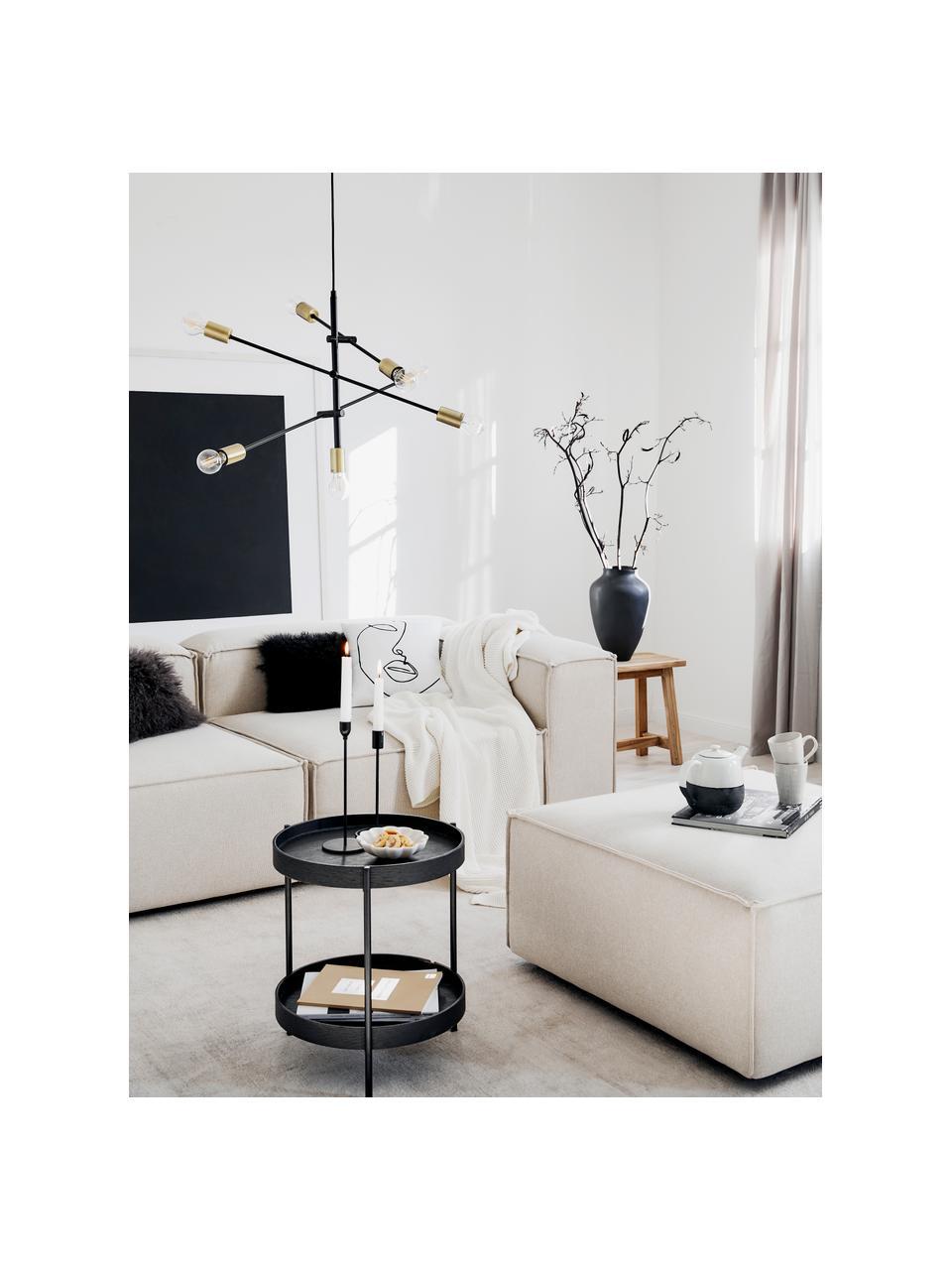 Housse de coussin 40x40 ligne abstraite Ariana, Blanc, noir