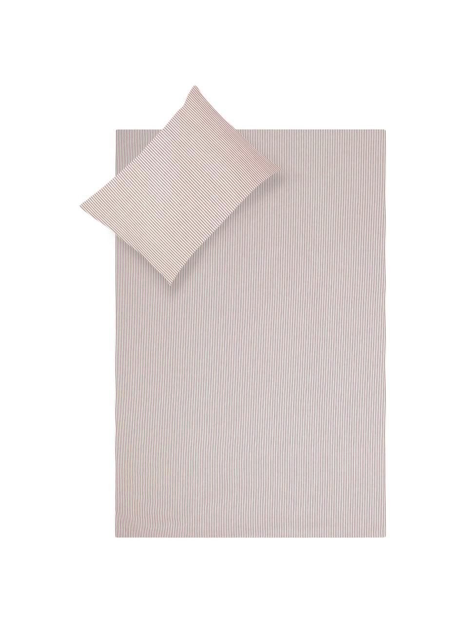 Parure copripiumino in cotone ranforce Ellie, Bianco, rosso, 155 x 200 cm