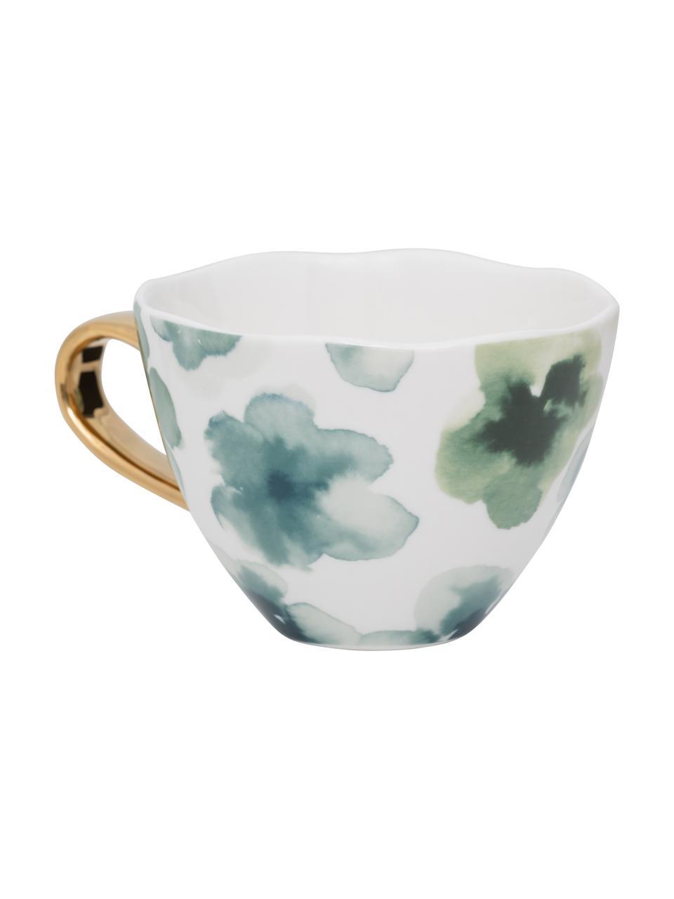 Tasse Good Morning, bunt bemalt mit goldfarbenem Griff, New Bone China, Weiß, Grün, Blau, Goldfarben, Ø 11 x H 8 cm
