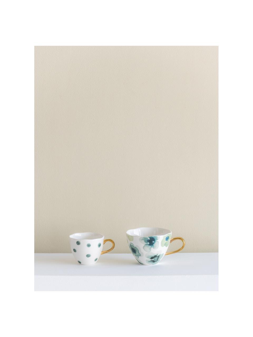 Bemalte Tasse Good Morning mit goldenem Griff, New Bone China, Weiß, Grün, Blau, Goldfarben, Ø 11 x H 8 cm