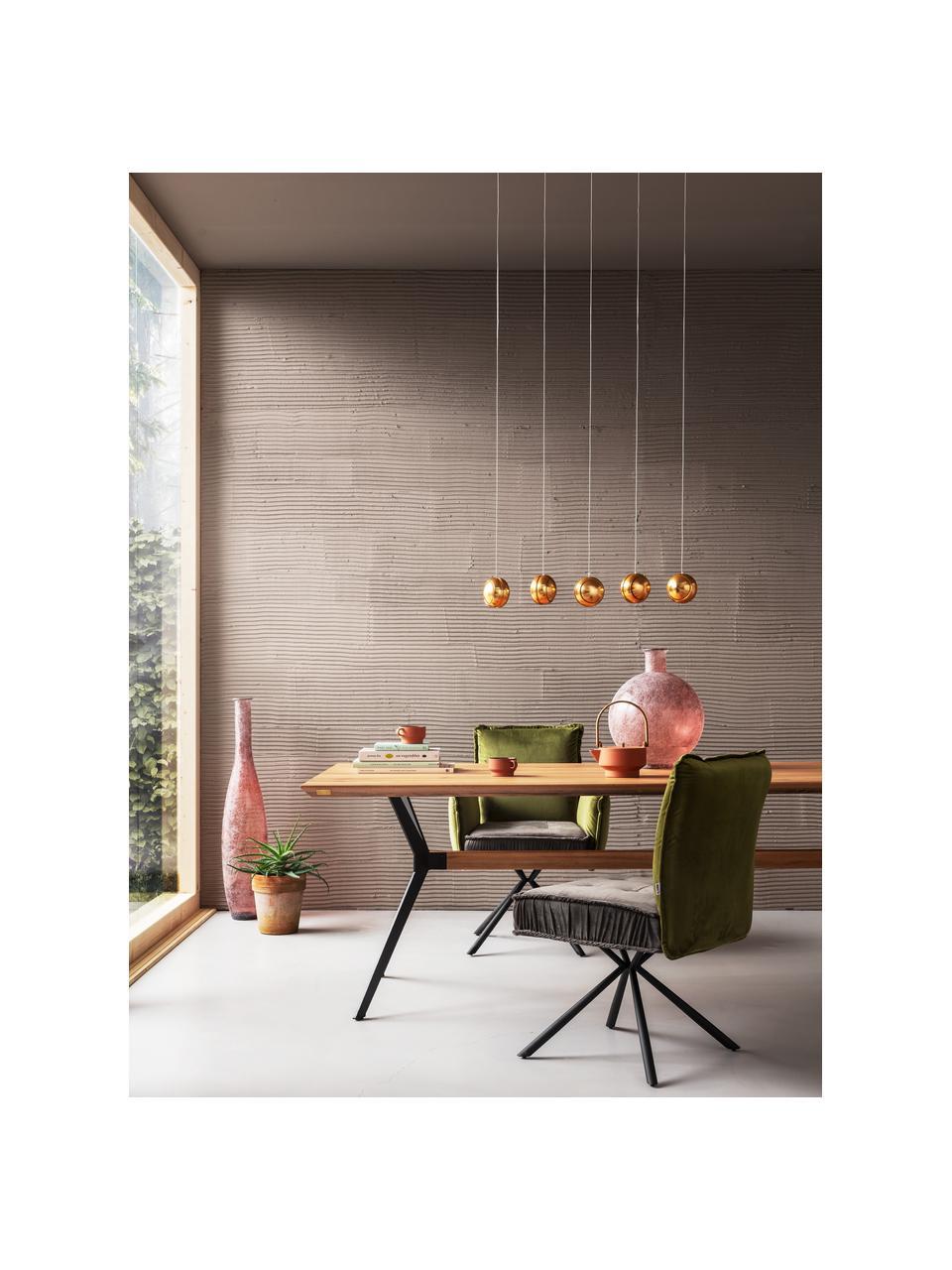 Tavolo con piano in legno massiccio Downtown, Gambe: acciaio verniciato a polv, Quercia, nero, Larg. 180 x Prof. 90 cm