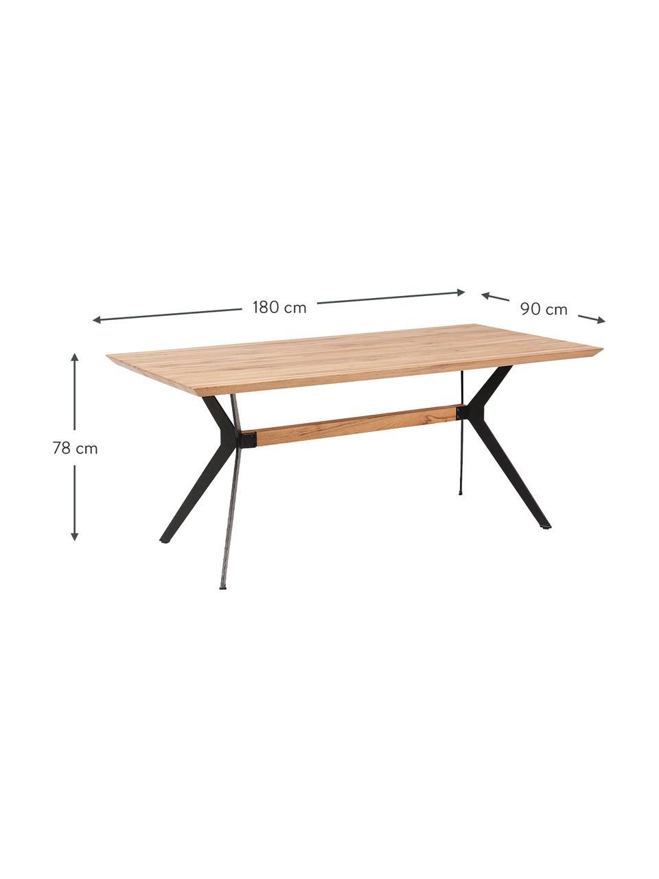 Esstisch Downtown mit Eichenholz, Tischplatte: Eichenholz, geölt, Beine: Stahl, pulverbeschichtet , Eichenholz, B 180 x T 90 cm