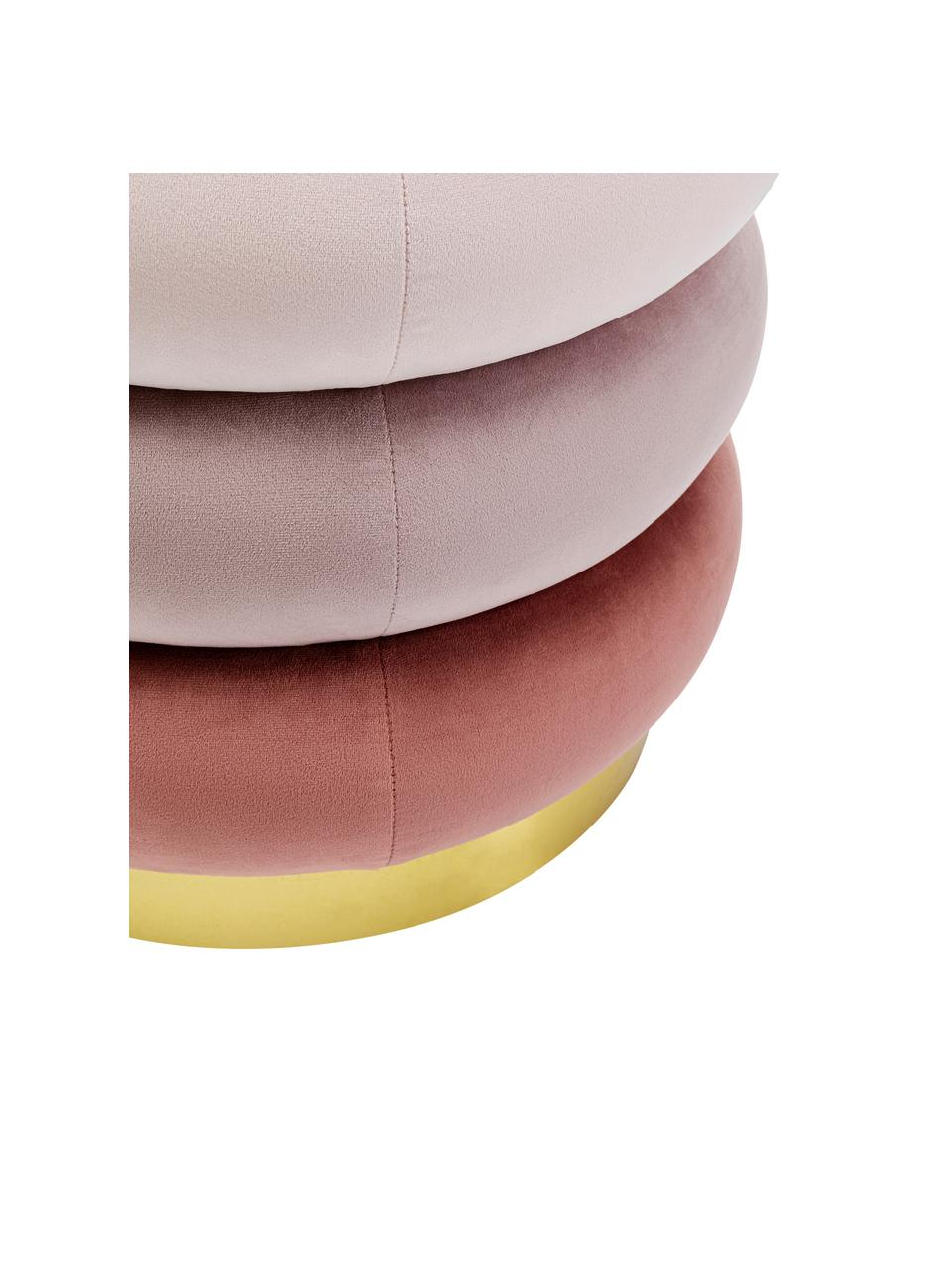 Pouf imbottito in velluto Sandwich, Rivestimento: poliestere, Sottostruttura: truciolato, Rosa, Ø 40 x Alt. 40 cm
