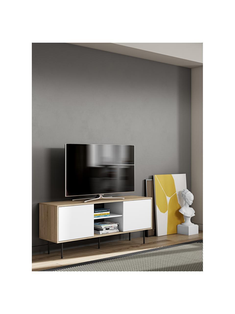 Scandi tv-meubel Altitude, Frame: met melamine beklede spaa, Poten: gecoat metaal, Eikenhoutkleurig, wit, zwart, 151 x 40 cm