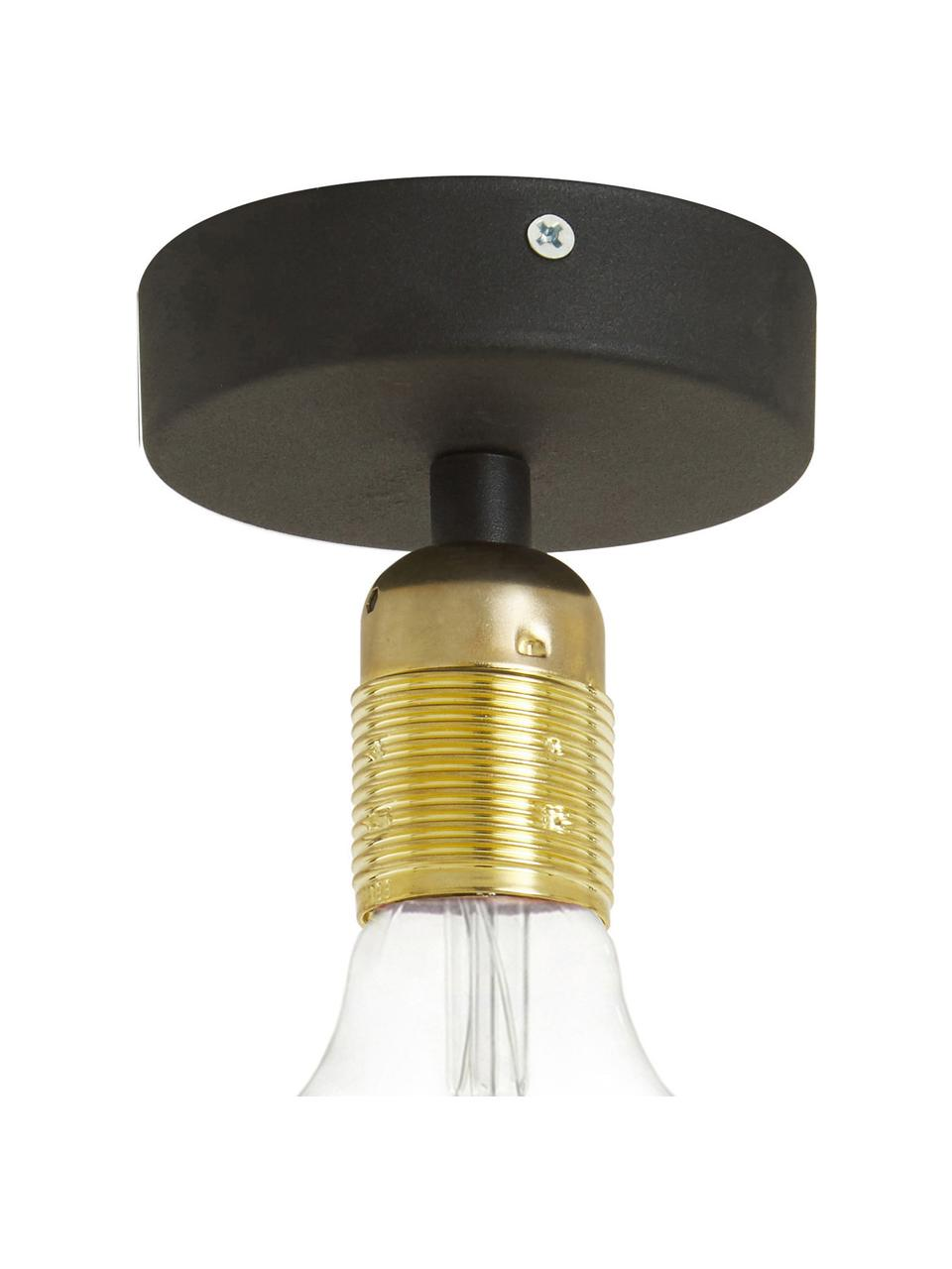 Kleine Deckenleuchte Uno in Gold, Baldachin: Metall, pulverbeschichtet, Schwarz, Messing, Ø 10 x H 10 cm