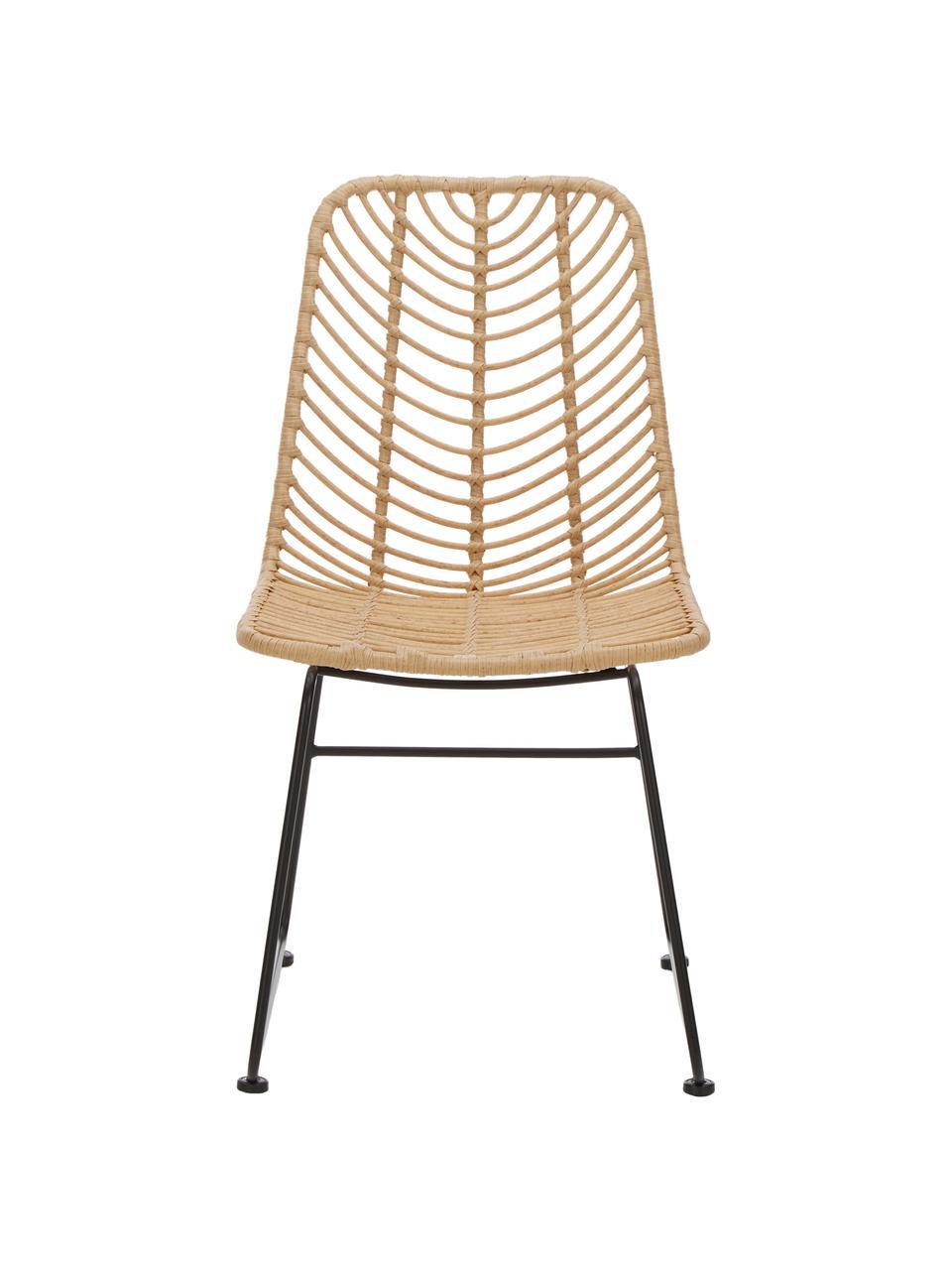 Polyrotan stoel Providencia, Zitvlak: polyethyleen-vlechtwerk, Frame: gepoedercoat metaal, Bruin, B 47 x D 63 cm