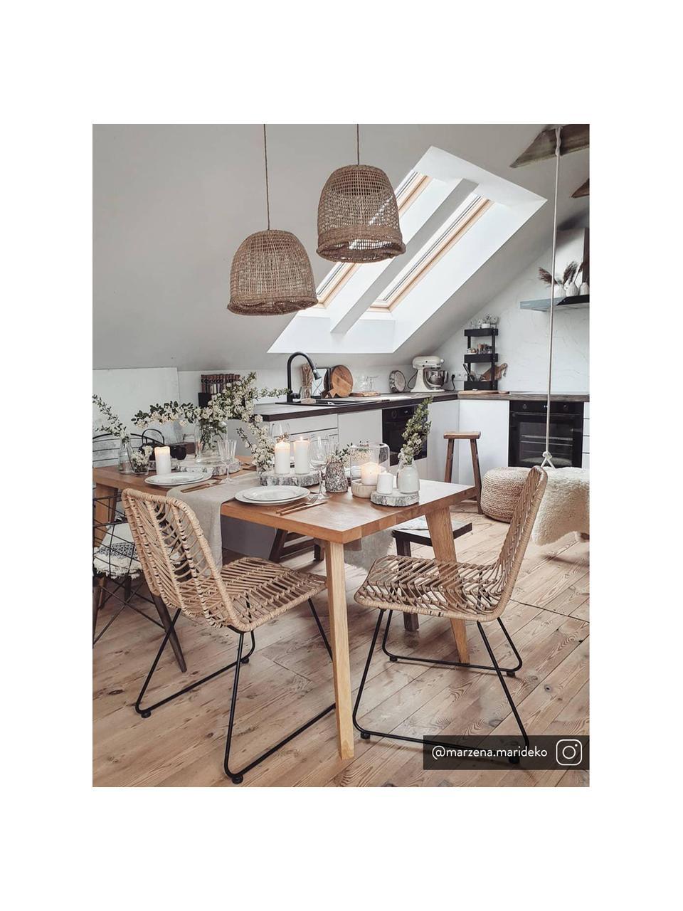 Polyrattan-Stuhl Providencia, Sitzfläche: Polyethylen-Geflecht, Gestell: Metall, pulverbeschichtet, Braun, Beine Schwarz, B 47 x T 63 cm