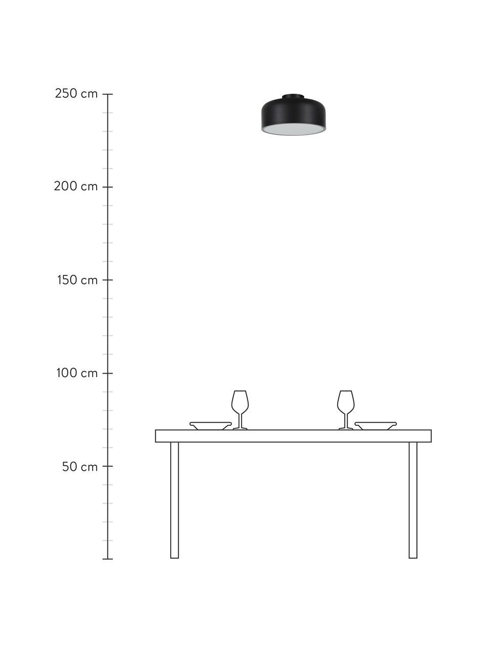 Deckenleuchte Ole aus Metall, Lampenschirm: Metall, pulverbeschichtet, Baldachin: Metall, pulverbeschichtet, Diffusorscheibe: Acryl, Schwarz, matt, Ø 35 x H 18 cm