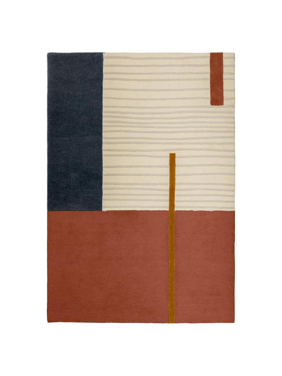 Tappeto con motivo geometrico Bahiti, 100% lana Nel caso dei tappeti di lana, le fibre possono staccarsi nelle prime settimane di utilizzo, questo e la formazione di lanugine si riducono con l'uso quotidiano, Multicolore, Larg. 160 x Lung. 230 cm