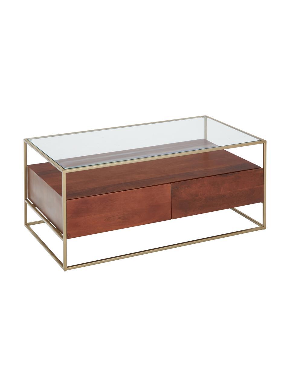 Couchtisch Theodor mit Schubladen, Tischplatte: Glas, Gestell: Metall, pulverbeschichtet, Transparent, Mangoholz, Goldfarben, 100 x 45 cm