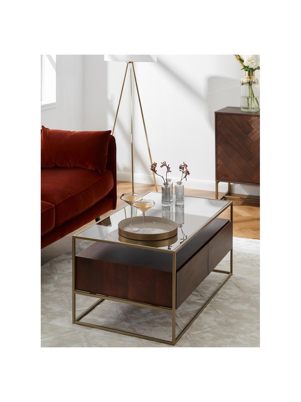 Stolik kawowy z szufladami Theodor, Blat: szkło, Stelaż: metal malowany proszkowo, Drewno mangowe powlekane, S 100 x W 45 cm