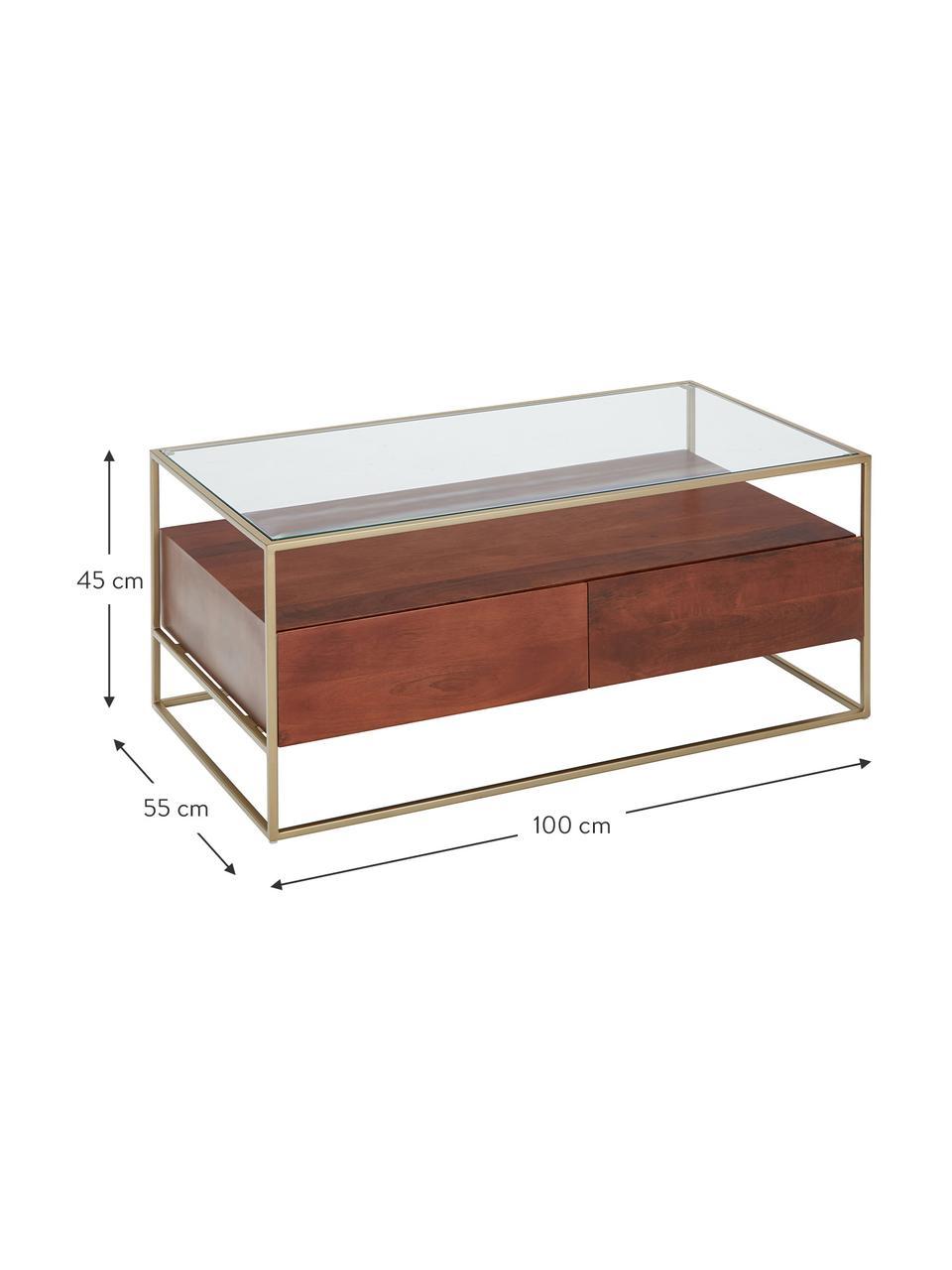 Table basse avec tiroirs Theodor, Transparent, bois de manguier, couleur dorée