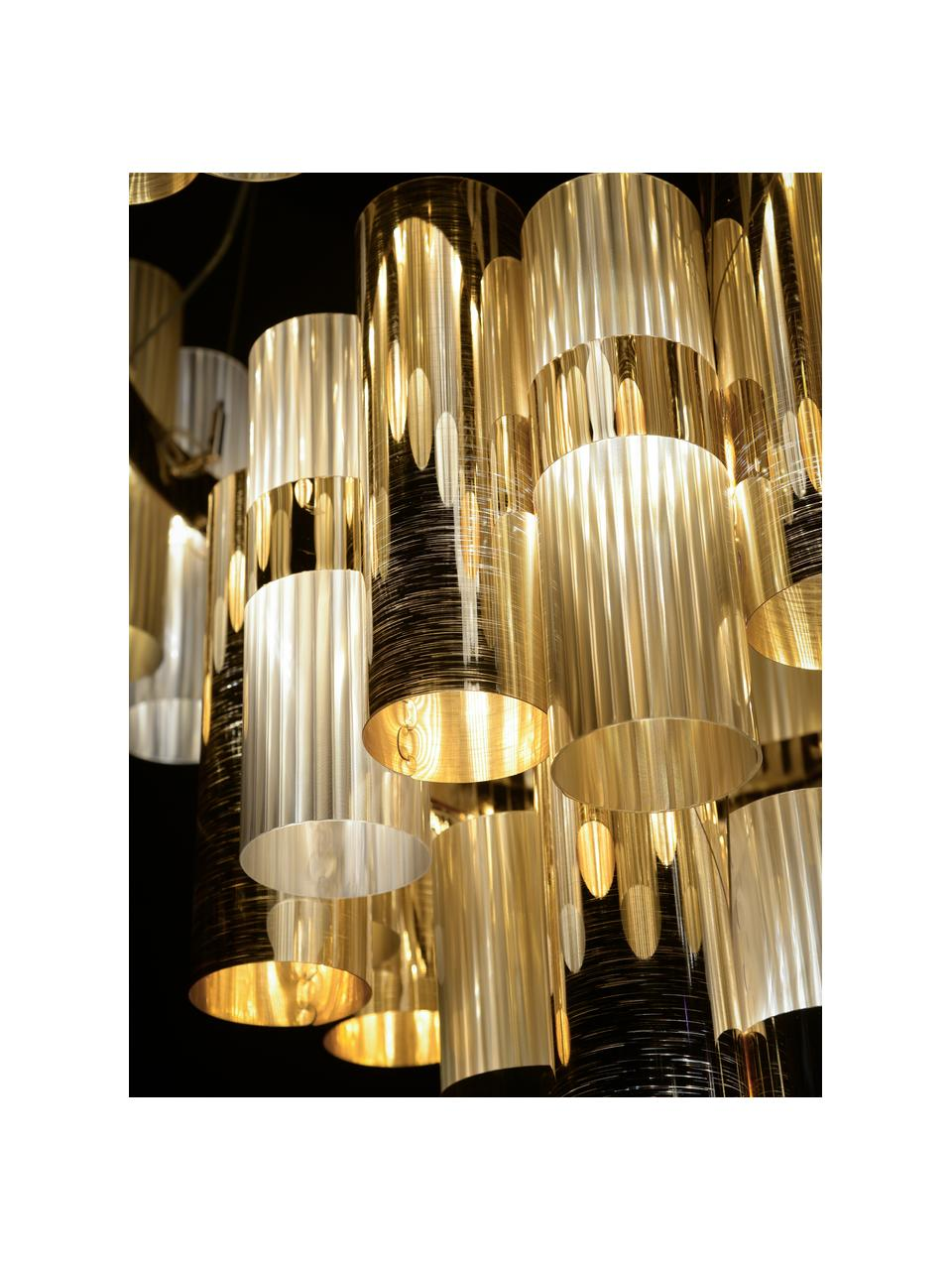 Lampa wisząca LED z tworzywa sztucznego z funkcją przyciemniania La Lollo, Odcienie złotego, Ø 48 x W 35 cm
