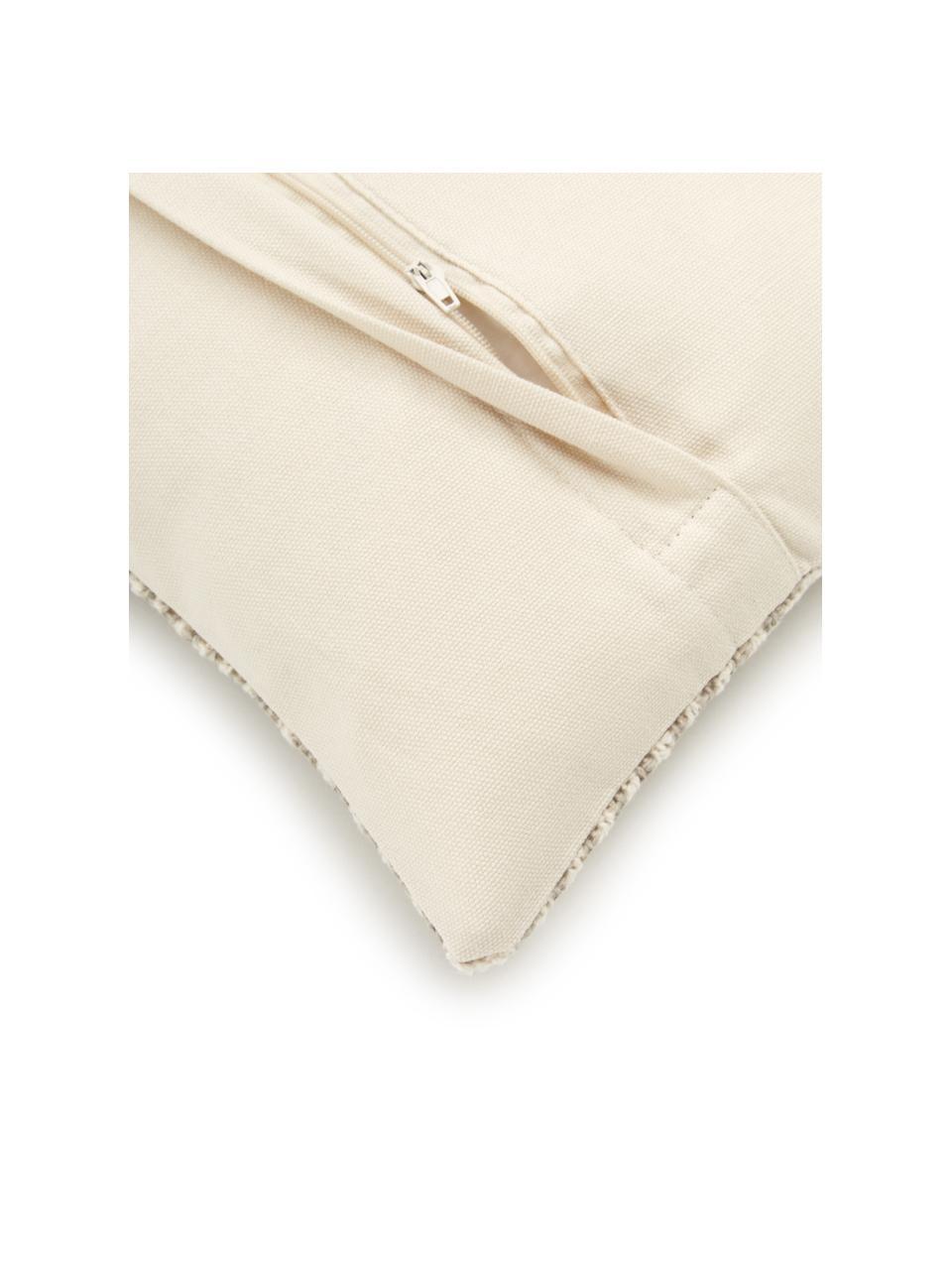 Kussenhoes Nadia met grafisch patroon in beige, 100% katoen, Beige, wit, 30 x 50 cm