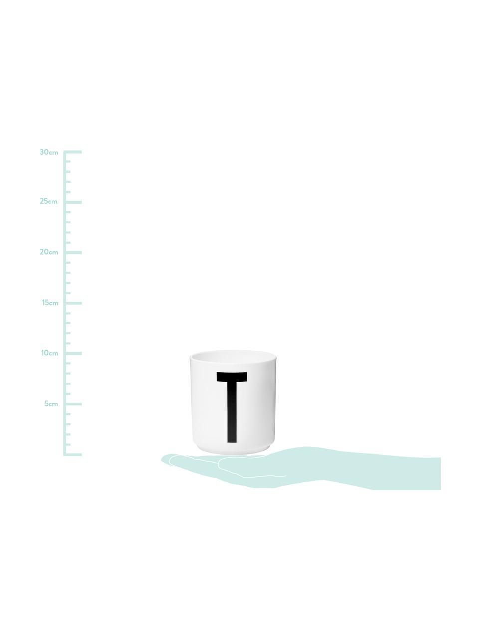 Design Becher Personal mit Buchstaben (Varianten von A bis Z), Fine Bone China (Porzellan) Fine Bone China ist ein Weichporzellan, das sich besonders durch seinen strahlenden, durchscheinenden Glanz auszeichnet., Weiß, Schwarz, Becher T