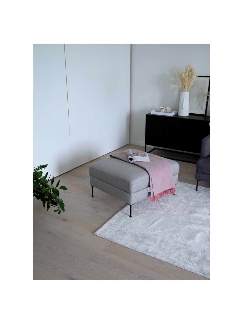 Voetenbank Cucita in lichtgrijs met opbergruimte, Bekleding: geweven stof (polyester), Frame: massief grenenhout, Poten: gelakt metaal, Lichtgrijs, 75 x 46 cm