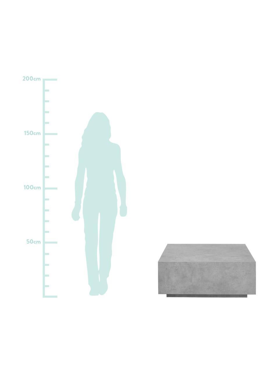 Tavolino da salotto effetto cemento Lesley, Pannello di fibra a media densità (MDF) rivestito con un foglio di melammina, legno di mango massiccio, Grigio, aspetto di cemento, Larg. 90 x Alt. 35 cm