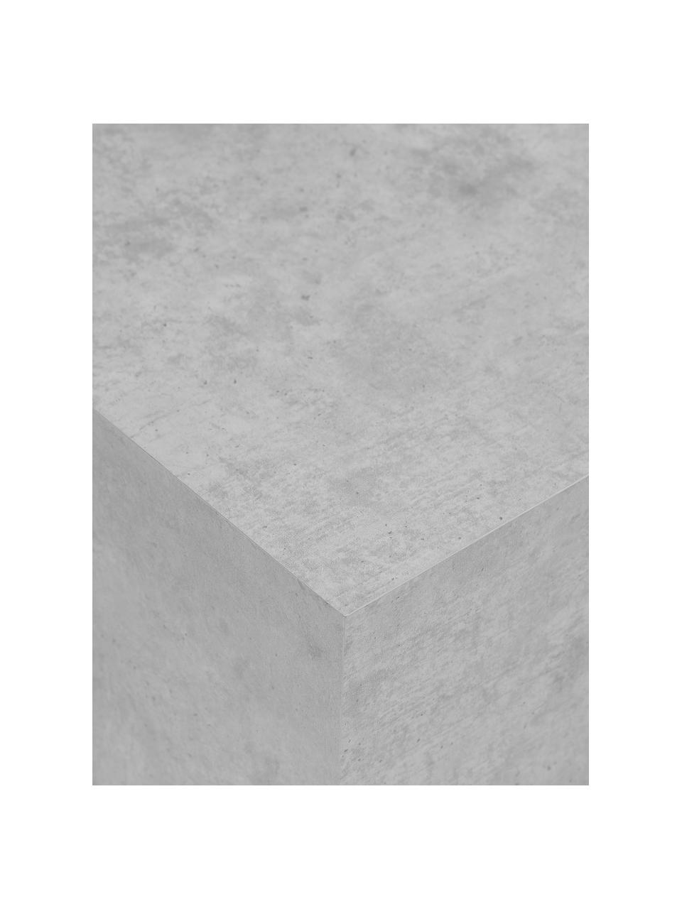 Schwebender Couchtisch Lesley in Betonoptik, Mitteldichte Holzfaserplatte (MDF), mit Melaminfolie überzogen, Massives Mangoholz, Grau, 90 x 35 cm