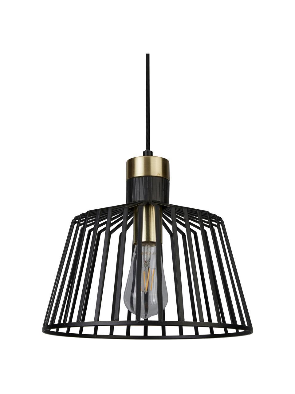Lampa wisząca Bird Cage, Czarny, odcienie złotego, Ø 30 x W 27 cm