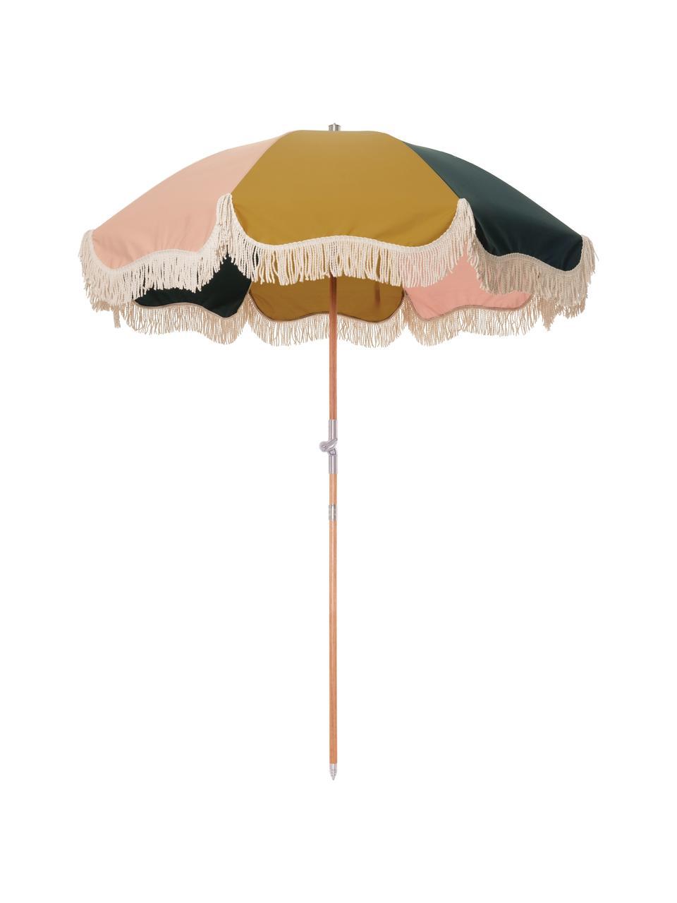 Bunter Sonnenschirm Retro mit Fransen, abknickbar, Gestell: Holz, laminiert, Fransen: Baumwolle, Senfgelb, Rosa, Weiß, Schwarz, Ø 180 x H 230 cm