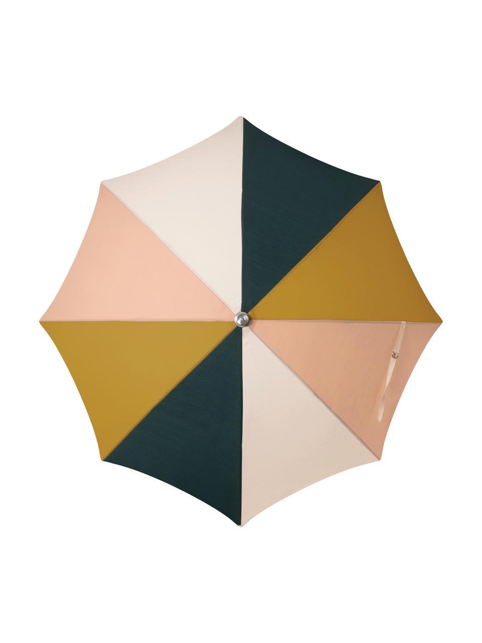 Parasol ogrodowy z frędzlami Retro, Stelaż: drewno naturalne, laminow, Musztardowy, blady różowy, biały, czarny, Ø 180 x W 230 cm