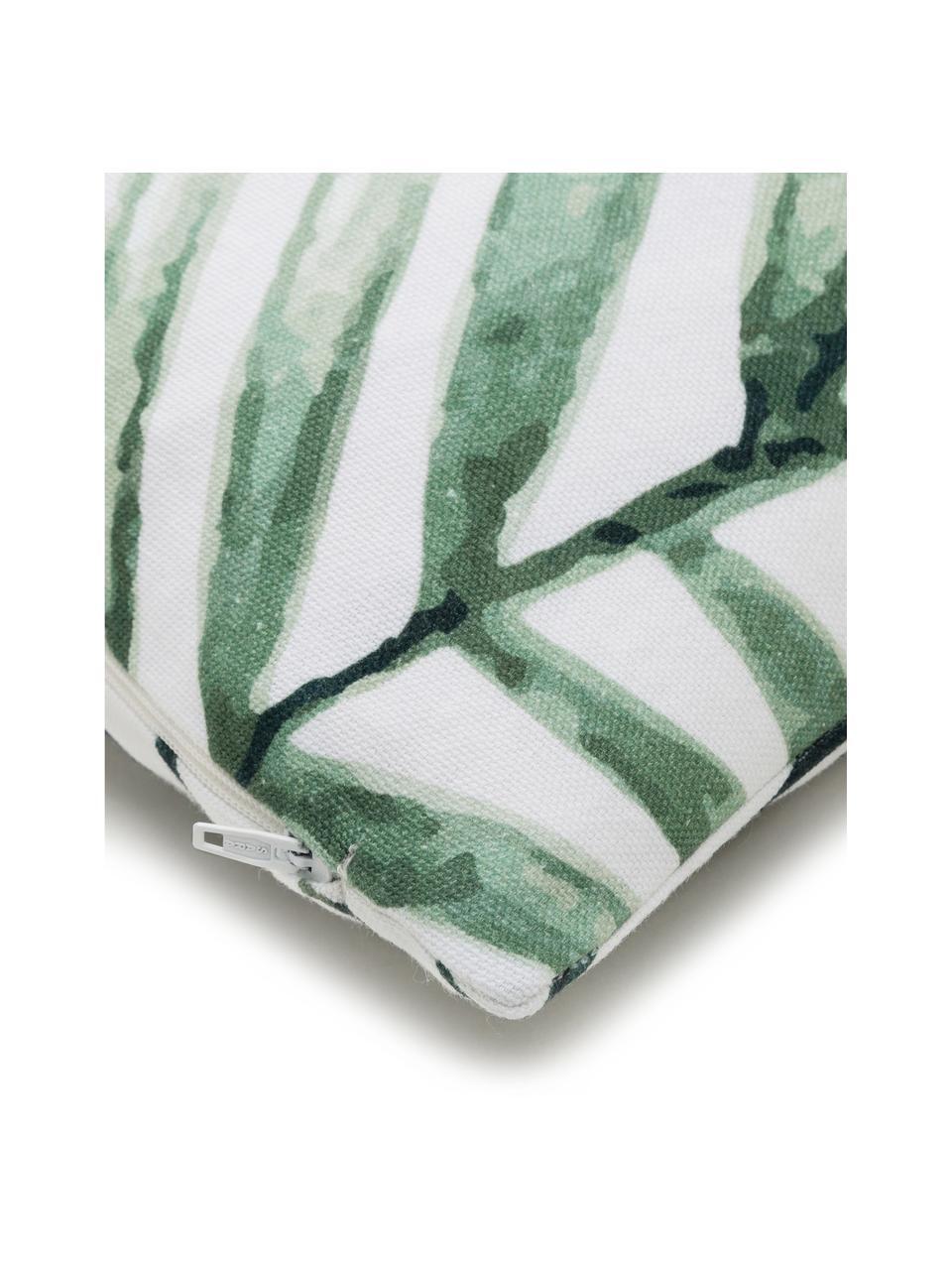Kissenhülle Coast mit Blattmuster, 100% Baumwolle, Grün, Weiß, 40 x 40 cm