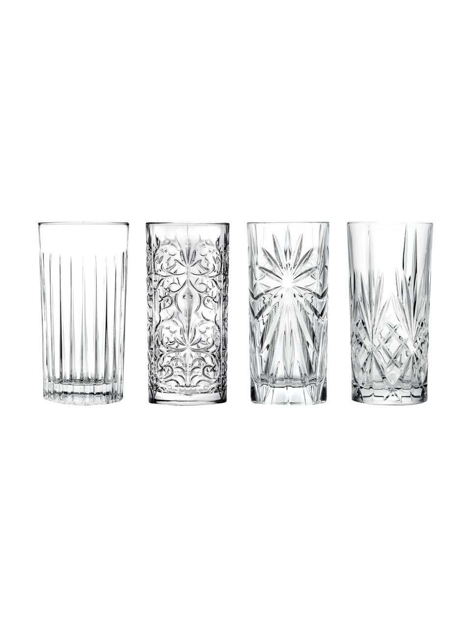 Kristallen longdrinkglazen Bichiera met reliëf, 4-delig, Kristalglas, Transparant, Ø 8 x H 15 cm