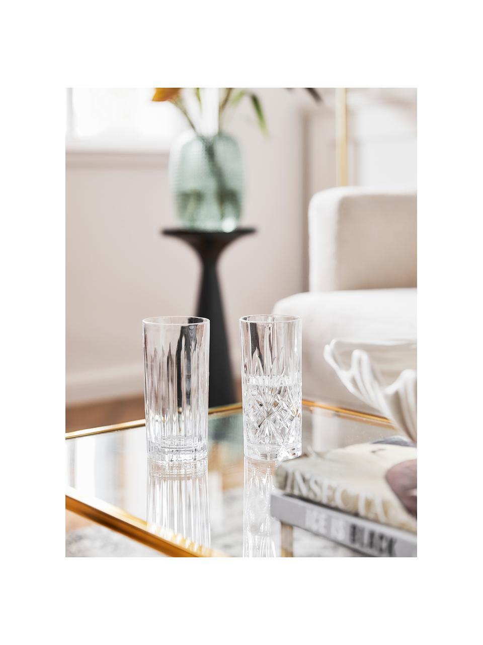 Verre à long drink cristalavec embossage décoratif Bichiera, 4élém., Transparent