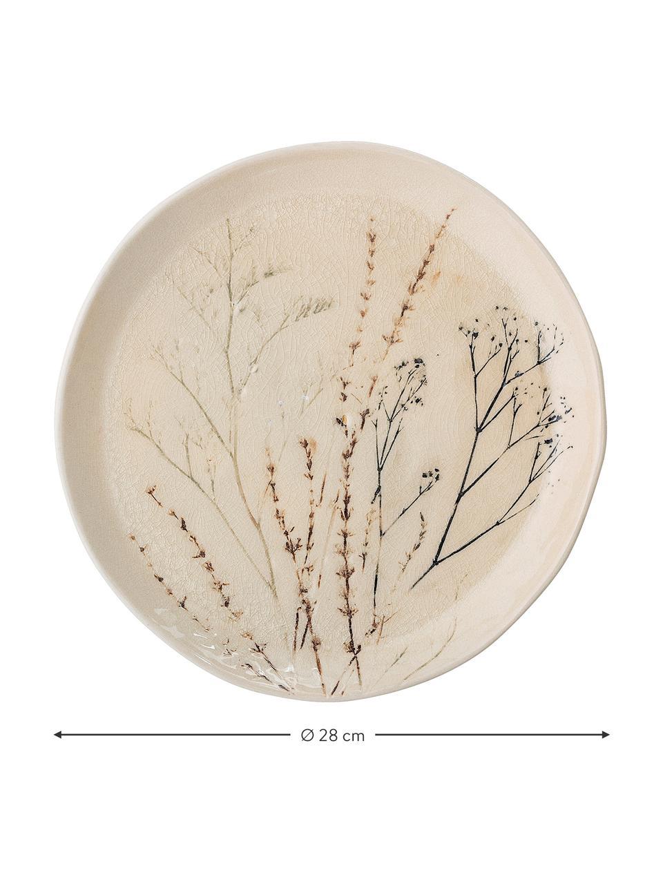 Handgemachte Steingut-Servierplatte Bea mit Gräser-Motiv, Ø 28 cm, Steingut, Beige, Mehrfarbig, Ø 28 cm