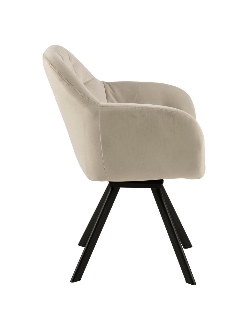 Chaise pivotante en velours et à accoudoirs Lucie, Velours beige, noir