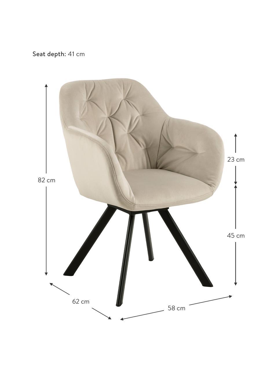 Krzesło z podłokietnikami z aksamitu Lola, obrotowe, Tapicerka: aksamit poliestrowy Dzięk, Nogi: metal malowany proszkowo, Aksamitny beżowy, czarny, S 58 x G 62 cm