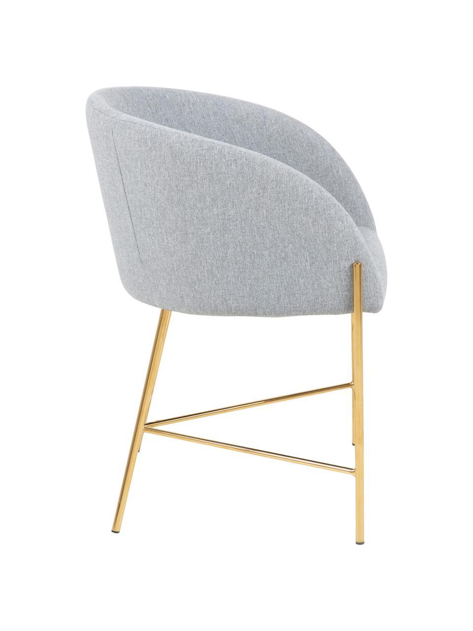 Krzesło tapicerowane z podłokietnikami Nelson, Tapicerka: poliester Dzięki tkaninie, Nogi: metal chromowany, Jasny szary, nogi: złote, S 56 x G 54 cm