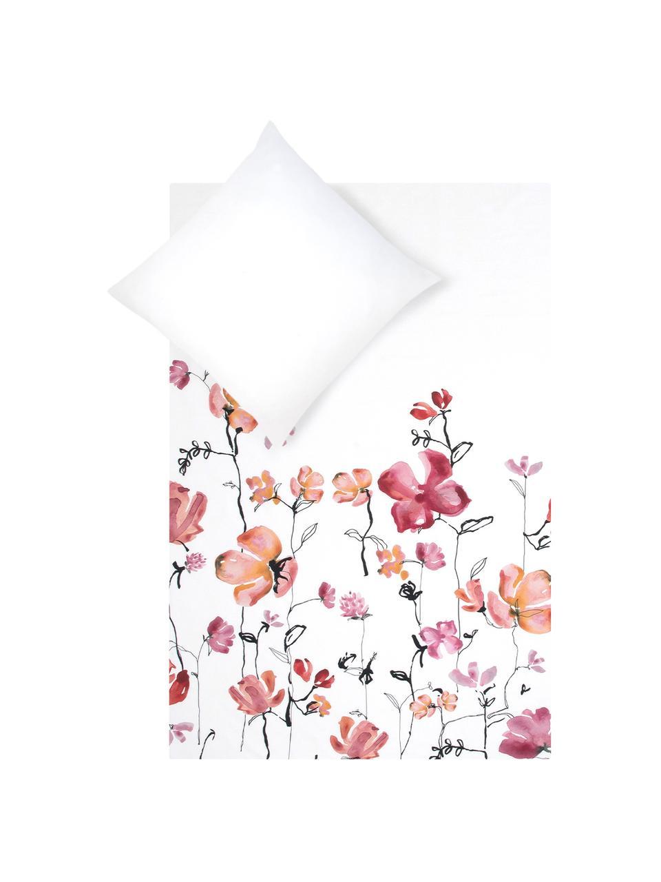 Baumwollsatin-Bettwäsche Fiori mit Blumen-Muster, Webart: Satin Fadendichte 200 TC,, Weiß, Rosa, Schwarz, 240 x 220 cm + 2 Kissen 80 x 80 cm
